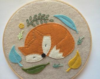 Embroidery Hoop Art, Wall Art, Woodland Nursery Room Decor, Orange Sleeping Fox, Leaves