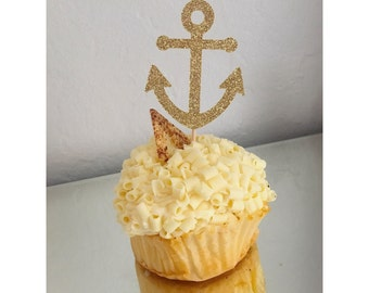 Glitter Anchor Cupcake Toppers, Nautical cupcake toppers, Nautical party, Anchor toppers, cupcake toppers- 12 toppers