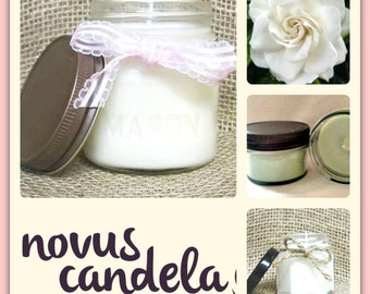 Mason Jar Candle - Soy Candle - Soy Scented Candle - Scented Soy Candle - Gardenia Candle - Homemade Candle - Housewarming Gift - 2 4 8 oz