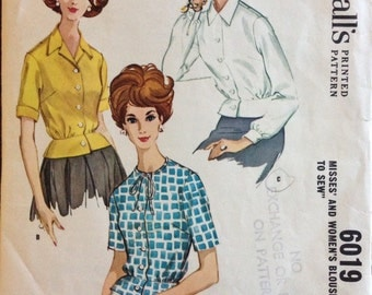 McCalls 6019 - 1960s Button Front Blouse with Round Neckline, Pointed Collar or Notched Collar Option and Peplum- Size 42 Bust 44