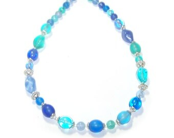 Blue Necklace / Bead Strand / Frosted & Clear Lucite - Chunky - Turquoise / Green / Blue / Light Blue / Silver