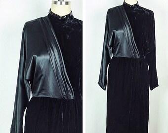 SALE Vintage 1980s Dress / 80s Black Silk Velvet Pleated Beaded Fancy Dress / Small to Medium