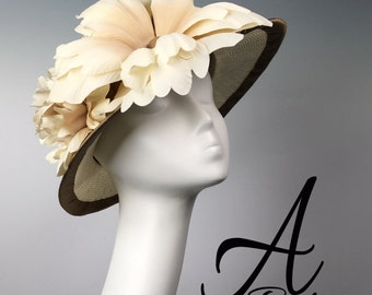 Couture Parasisal Handblocked Cloche style hat - Kentucky Derby Hat, Raceday hat, Royal Ascot Hat, Couture Millinery