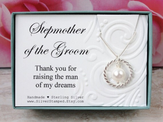 Gift for Stepmother of the Groom gift from bride Sterling silver pearl ...