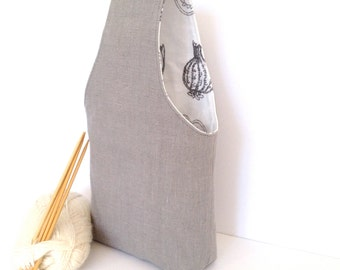 1-2 Skein Sock Knitting Bag with yarn guide and pocket, Small Project Bag Grey Linen Knitting Bag, Knitting Project Bag, Crochet Project Bag