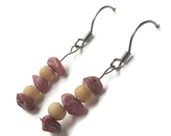 Silver earrings Rhodonite, earth natural jewelry, pink stone earring silver wood jewelry earth earring natural stone earring pink stone ayin