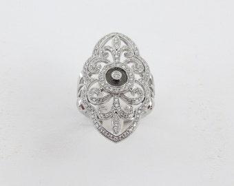 14k White Gold Ladies Cocktail Diamond And Black Enamel Ring Size 7 1/4