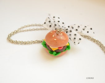 Burger Necklace, Large Hamburger Necklace, Polymer Clay Cheeseburger Necklace, Big Burger Necklace, Food Jewelry, Food Necklace