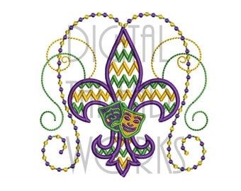 Chevron Mardi Gras Fleur De Lis Machine Embroidery Design in 4x4, 5x7, & 6x10 Inch Hoop Sizes. Comedy and Tragedy Masks