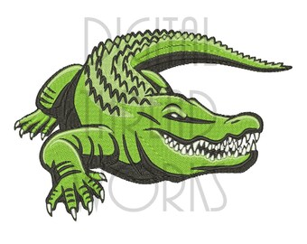 Alligator Machine Embroidery Design for 4x4, 5x7, and 6x10 inch hoops. Instant Download Realistic Swamp Gator