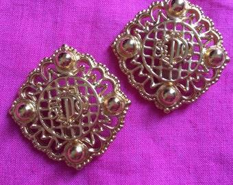 Rare Vintage Christian Dior monogram clip on earrings 1980's
