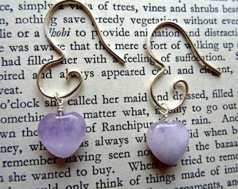 Amethyst heart earrings - Amethyst earrings - lavender wedding - 6th anniversary gift - lavender bridesmaid earrings - February birthstone