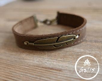 Men Bracelet - Men Leather Bracelet - Men Feather Bracelet - Men Jewelry - Men Gift - Boyfriend Gift - Husband Gift - Present For Men - Male