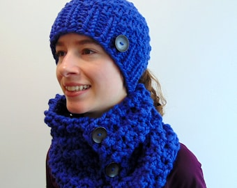 Ponytail Hat and Cowl Scarf Set Chunky Knit Pony Tail Beanie Cobalt Blue Made in Alaska Gift for Her Women's Fall Winter Gift