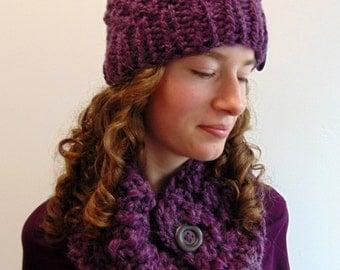 Purple Hat & Cowl Set Hat and Scarf Set Purple Chunky Knit Beanie Gift for Her Handmade in Alaska Mom Gift Softest Alpaca Purple Yarn