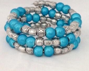 Blue beaded bracelet, blue bracelet, blue wrap bracelet, beaded bracelet