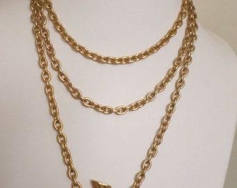 Vintage Designer Large Satin Gold Tone Vase / Vessel Long Chain Necklace