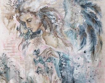 "Angel image ""Dreams"" 20x26cm Fine Art print, Angel art print, Giclée"