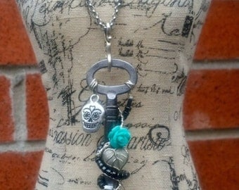 Sugar Skull Necklace, Sugar Skull Jewelry, Antique Skeleton Key Necklace, Steampunk Jewelry, Edgy, Unique, Handmade, Wire Wrapped
