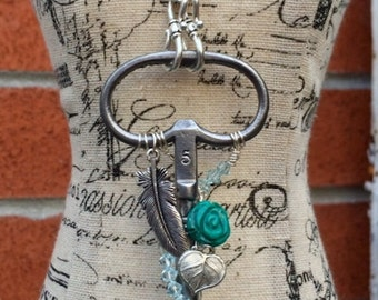Beautiful Winding Clock Key Necklace Silver Feather & Turquoise Rose, Antique Skeleton Key Necklace, Steampunk Jewelry, Wire Wrapped Pendant