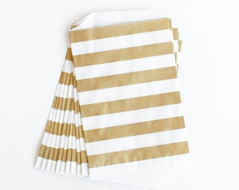 Metallic Gold stripe favor bag