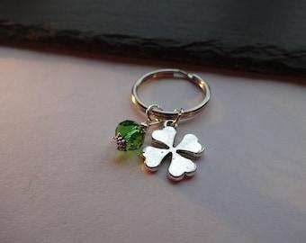 Four Leaf Clover Keyring, Green & Silver Good Luck Charm Keychain
