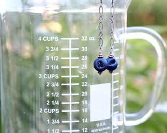 Druzy Earrings | Cobalt Blue Druzy Earrings | Dangly Earrings with Sparkly Druzy Stone