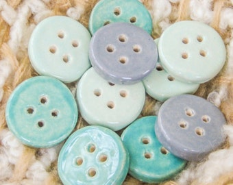 Thick Solid, Simple Handmade Ceramic Buttons, Aqua, Mint, and Grey, Set of Four