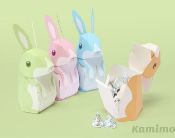 Easter Bunny Rabbit - Favor boxes, Gift boxes, Spring Celebrations / Printable Paper Craft PDF / Pastel Colors