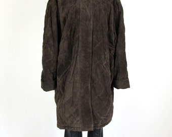 Vintage Dark Brown Suede Genuine Leather Quilted Warm Jacket Parka - Size XXXL