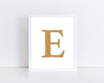 Gold Monogram Print, E Nursery Monogram, Gold Nursery Decor, Gold Glitter Monogram, Gold Foil Custom, Girl Monogram, Letter E Print