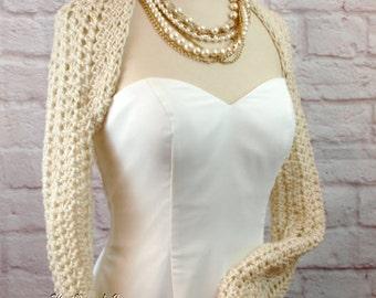 Ivory Bridal Shrug Off White Bridesmaids Shrug READY TO SHIP Wedding Shrug Shoulder Cover Long Sleeve Winter Wedding Crochet Shrug