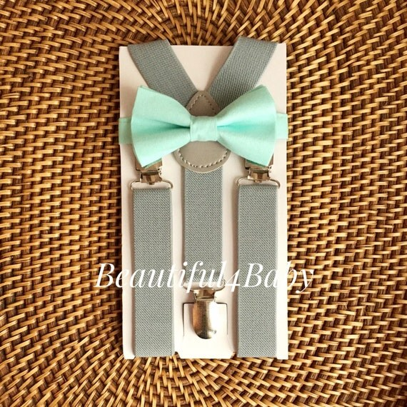 mint baby bow tie amp gray suspender set mint baby by