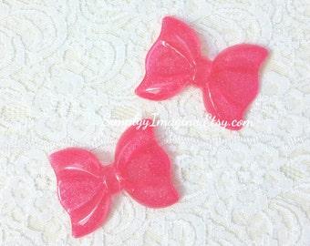 Large Hot Pink Bow Ribbon Glitter Sparkly Cabochon Resin Flatback - 2 PCS - 56mm