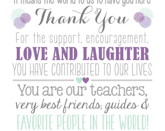 Thank You Friends & Family Wedding Sign *DIGITAL DOWNLOAD*