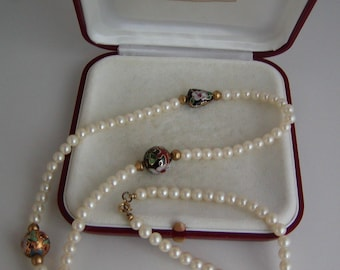 Authentic Vintage Majorica Pearl and Cloisonne Long Strand Necklace / Original Box