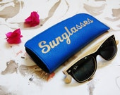 glasses case, Royal blue sunglasses case, leather sunglasses case, sunglasses holder,, eye wear cases
