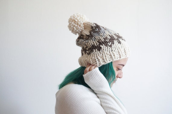 chunky knit fair isle slouchy beanie wool knitted cream