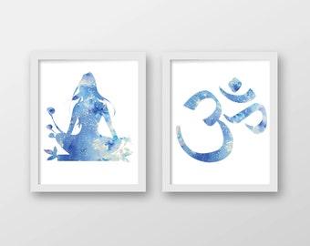 Watercolor Meditation Art Print Set - Yoga Art - Om Art - Set of 2 Prints