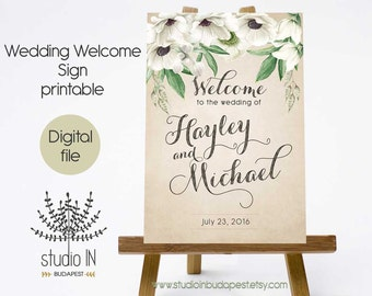PRINTABLE Large Wedding Welcome Sign, Large Welcome Sign, Rustic Wedding Sign, Reception Sign, Boho wedding, PRINTABLE