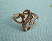 """14k solid gold Russian ring - """"S"""" shape or Arabesque curl or stylized snake"""