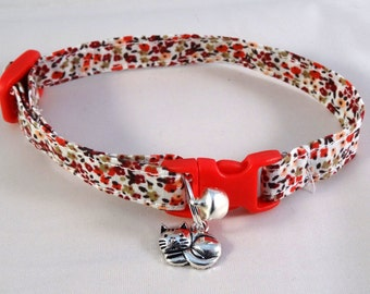 Cat Collar optional bow // Pretty red floral