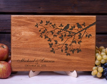 Cutting Board Wedding gift Personalized cutting board Tree with Love Birds Custom board Anniversary Gift Housewarming gift for Couple