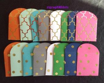8 Gold Foil Mini Envelopes, Gift Envelopes, Small Envelopes, Polka Dots, Morrocan, Many Uses, Wedding, Baby/Bridal Shower