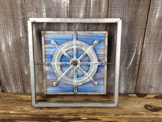 Navy Blue Metal Wall Art: Galvanized Metal Ships Wheel Wall Decor Rustic Wooden Accent