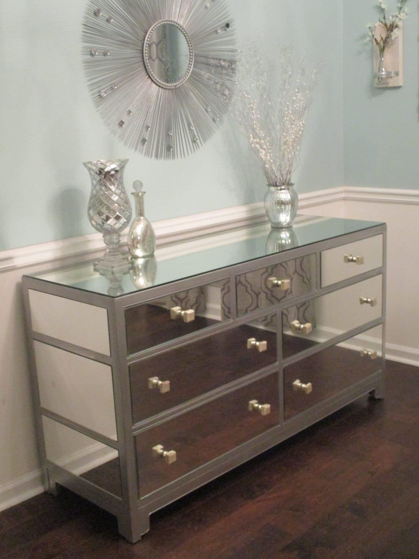 Mirrored Dresser Or Buffet Silver Modern Mirror