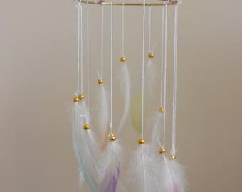 Mini Rainbow Swirl pastel rainbow feather spiral Dream Catcher
