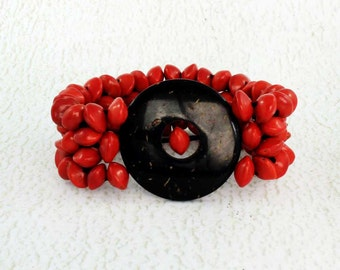 Coconut Shell Bracelet with Red Seeds - Dye Free Natural Bracelet - Wide Bracelet - Coconut Jewelry - Fair Trade - Stretchy Bracelet 2510