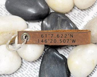 Custom Coordinate keychain Latitude Longitude Keychain,GPS Leather Keychain,Personalized Leather Keyring,Leather Key Chain,Father Gift