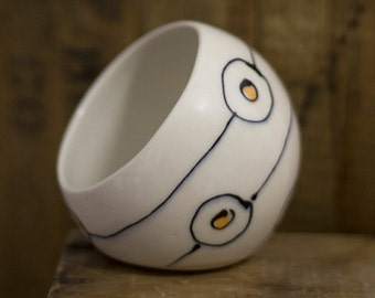 Circles, dots and lines porcelain salt cellar made to order